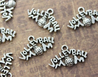 10 Volleyball mom Charms Volleyball Mom Pendants Antiqued Silver Tone 23 x 13 mm