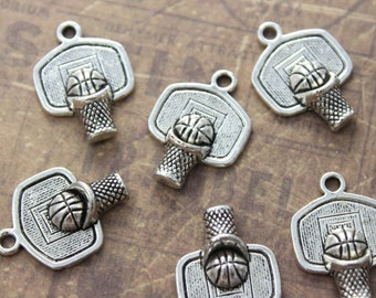 10 Basketball Charms Antiqued Silver Tone 20 x 15 mm