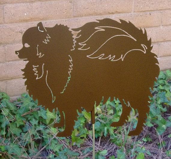 Pomeranian Garden Stake, Pet Memorial, Ornament, Steel Yard Art, Dog Breed Specific, Rustic