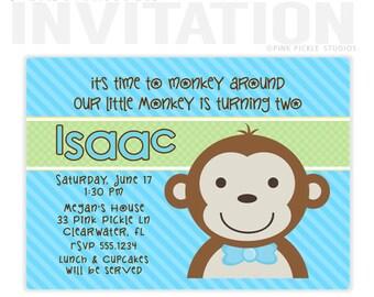 Boy Monkey Birthday Party Invitations, personalized thank you cards, birthday invitations, party invitations / No.33