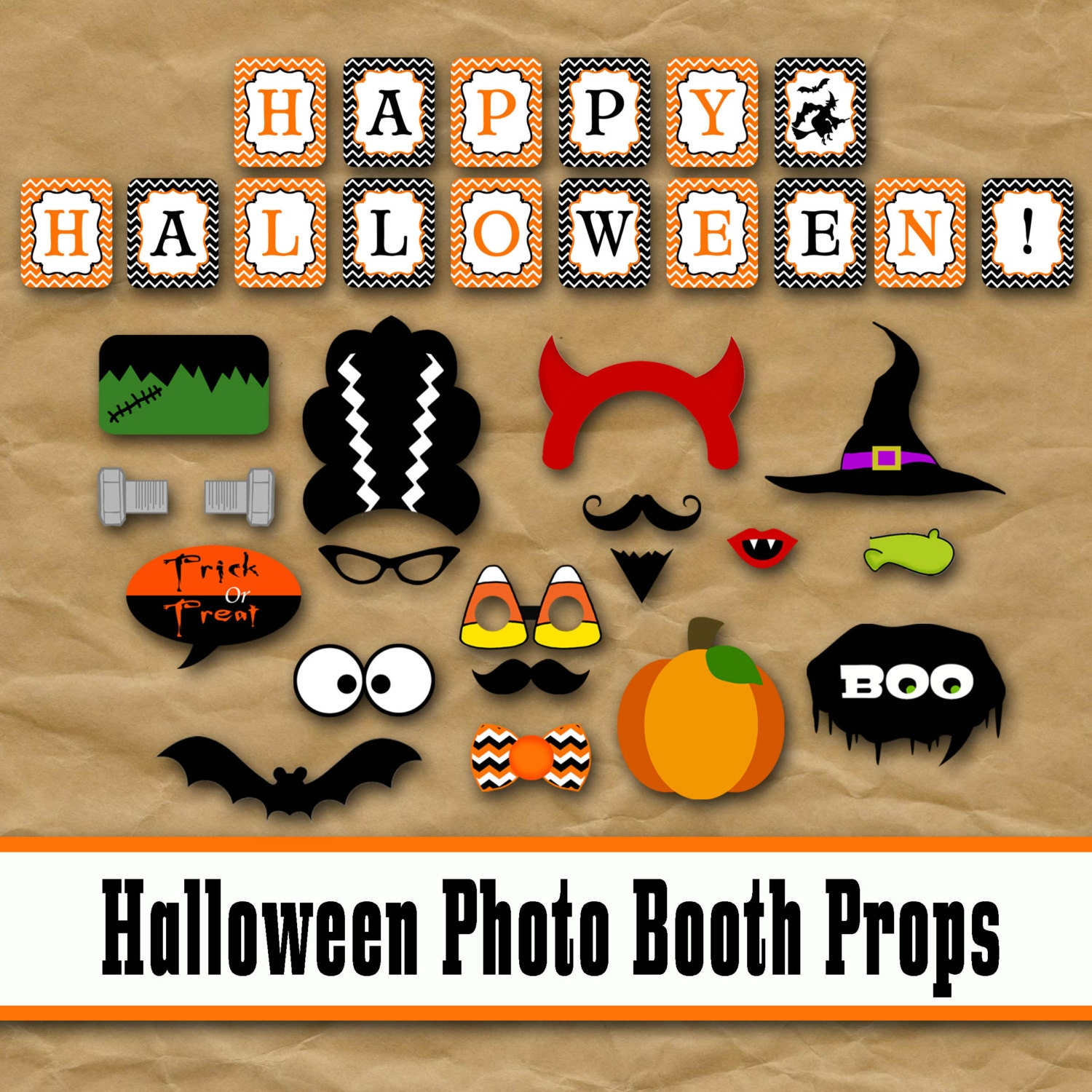 This is an image of Peaceful Halloween Photo Booth Props Printable Free