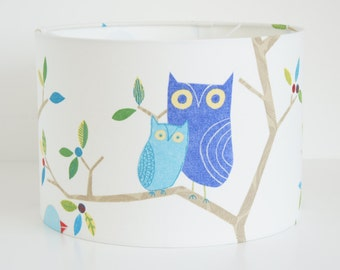 Lampshade Handmade in Harlequin What a hoot fabric Drum 30 cm lampshade