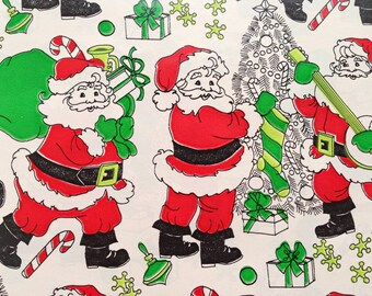 Vintage Christmas Gift Wrapping Paper - Juvenile - Santas Delivering Toys on Christmas Eve - Jacks, Banjo  - 1 Unused Full Sheet Gift Wrap
