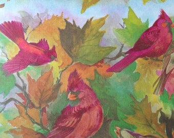 Vintage Gift Wrapping Paper - Cardinals and Fall Leave Bird Paper - Autumn Fall Foliage - Thanksgiving - 1 Unused Full Sheet Gift Wrap
