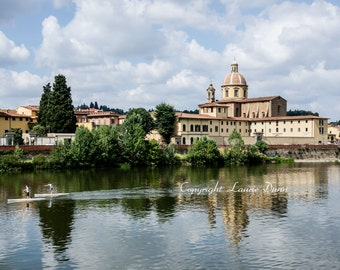 8x12 Skulling on the Arno River in Florence, Italy