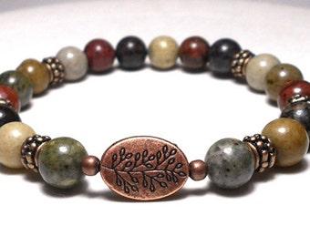 Beaded Stretch Bracelets, Nature Bracelet, River Jasper Bracelet, Tree Bracelet, Earthy Bracelet, Natural Bracelet, Hippie Bracelet