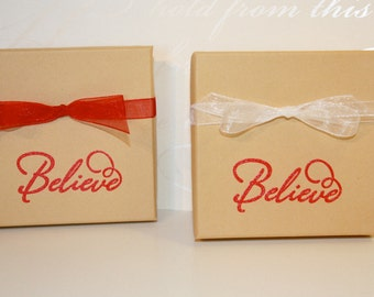 Believe Holiday gift box, Embossed Gift Boxes, Paper gift box, Jewelry gift boxes, Christmas, Decorative gift box