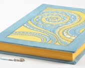 FREE shipping, hand painted notebook, blue notebook, yellow blue, a5 notebook, diary, unruled notebook, travel journal, blank book, a5