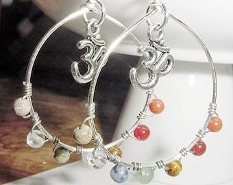 Chakra Hoop Earrings, Gemstones, Balance, Harmonize Energy Centers, with or without Om Charm Reiki Jewelry, Chakra Jewellery
