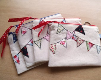 ONE LEFT Cute Bunting Purses, Very Popular Freehand Machine Embroidery Design, Modern, with Felt Interiors