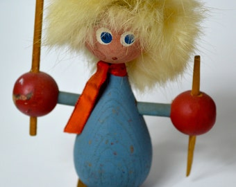 Painted Wooden Skier Figure - Made in Sweden