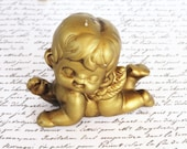 Vintage Gold Cherub, Angel, Christmas Holiday, Decoration, Embellishment