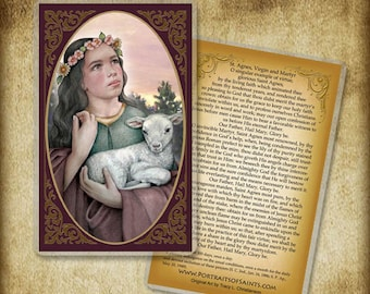 Saint Agnes of Rome  Holy Card or Wood Magnet #0051