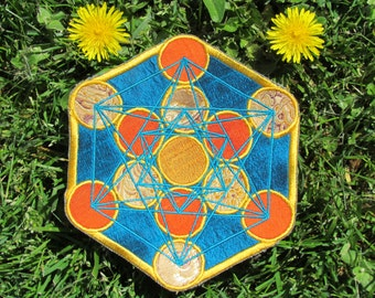 Sacred Geometry Patch Metatron's Cube in Silk Handmade Applique Accessory Wearable Art