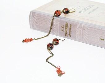 Gemstone brown long earrings with bronze chain. Aventurine earrings. Stone jewelry. Brown earrings. Long statement earrings.