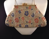 Vintage Holiday 1950s Silk Floral Chintz Floral Purse -  Mint Condition