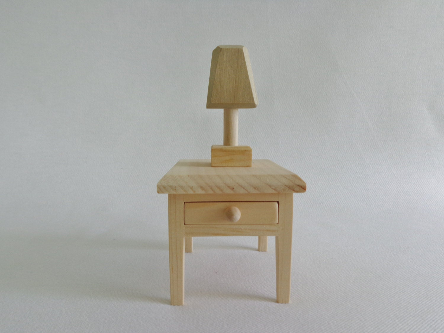 barbie doll wooden night stand with lamp. Black Bedroom Furniture Sets. Home Design Ideas