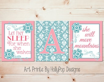 Girl Nursery Art Nursery Decor Pink Teal Artwork Baby Girl Nursery Let Her Sleep Quote Move mountains Quote Damask Decor Girls Room Art 0643