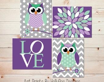 Owl Nursery Art Owl Decor Modern Nursery Art Quad Purple Mint Baby Girl Nursery Toddler Girls Room Wall Art Floral Burst LOVE print 0671