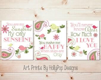 You are My sunshine Baby Girl Nursery Decor Birds on Branch Paisley Decor Whimsical Bird Wall Art Girls Room Decor Set of 3 Prints #0722