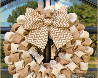 Bubble burlap wreath ivory and natural with burlap bow 19""