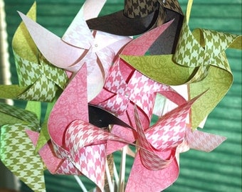 SALE! Pinwheels - Large Twirling Spinning in Houndstooth and Damask Patterns -  One Dozen - Great For Birthdays!