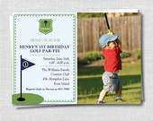 Custom Preppy Golf Photo Birthday Invitation - Golf Themed Party - Boy Birthday - Digital Design or Printed Invitations - FREE SHIPPING