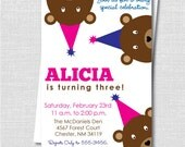 Girl Peek a Boo Teddy Bear Birthday Party Invitation - Girl Teddy Bear Birthday - Digital Design or Printed Invitations - FREE SHIPPING