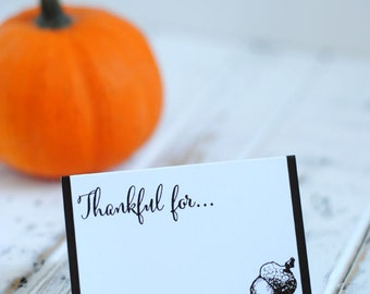 Printable Thanksgiving Place Cards - Thankful For Cards - Thanksgiving Dinner Decor - INSTANT DOWNLOAD
