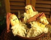 Set of three Primitive Christmas Santa Head Ornaments, Tucks, Ornies or Bowl Fillers