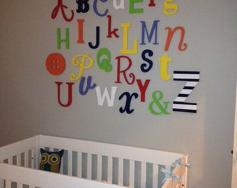 sale painted wooden alphabet set mixed wood wall letters abc wall alphabet letters nursery decor baby shower gift
