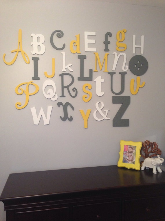Alphabet Letters For Wall Unique Painted Wooden Alphabet Set Mixed Wood Wall Letters Abc Inspiration