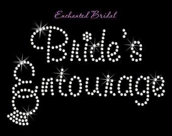 Bride's Entourage With Dangling Ring Rhinestone Transfer DIY Wedding Bling Iron On