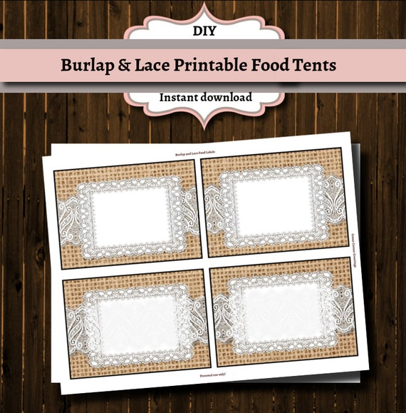 Printable Buffet Food labels Burlap and by ...