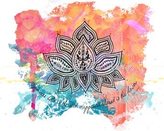 Lotus - Art Print, Yoga Art