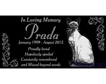 "Personalized Siamese Cat Pet Memorial 12x6 Custom Granite Grave Marker Headstone Plaque ""Prada"""