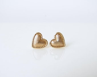 Small Puffy Heart Cushion Stud Earrings. Small Textured Brass Heart Earrings. Bridesmaid Gift. Simple Modern Jewelry ~ Valentine's Day