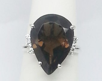 7.83ctw Smoky Quartz & Zircon Sterling Silver Ring Size 7