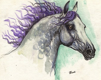 grey horse with purple mane original watercolour painting