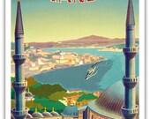9in x 12in Vintage World Travel Art Poster Print - Istanbul Turkey Minarets Mosque - PRTA4110