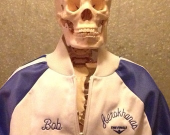 Mr Belvederes blue & white vintage warm up running jacket, mens size small