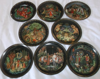 Vintage Russian Legends Collectable Plates 1989-1990 SET OF 8