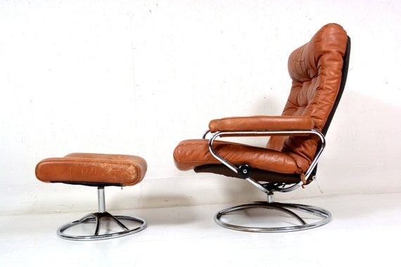 vintage 70er jahre chrom ekornes stressless sessel lounge. Black Bedroom Furniture Sets. Home Design Ideas