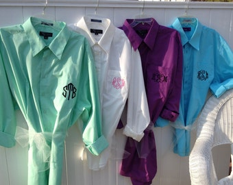 Monogrammed, oversized  bridesmaids shirt s