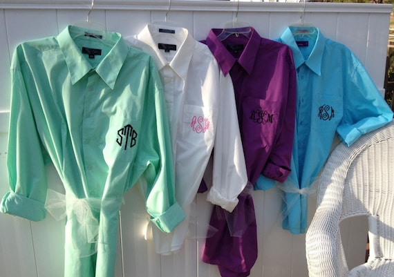 Monogrammed, oversized  bridesmaids shirt s