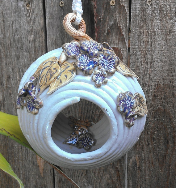Items Similar To Hanging Coiled Ceramic Bird House Or