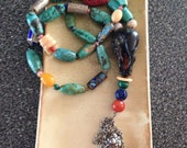 Wood Horse and turquoise Necklace and charm