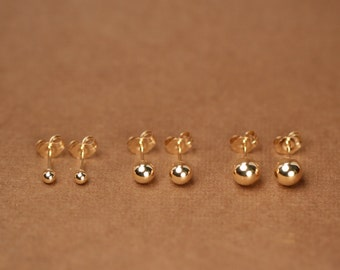 Gold ball earrings - gold dot earrings - gold studs - tiny ball earrings - little gold ball studs - 14k gold filled ball stud earrings