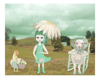 Spring Meadow - Limited Edition Fine Art Digital Print - Fantasy, Whimsical, Girl, Daisy, Lamb, Country, Dewy