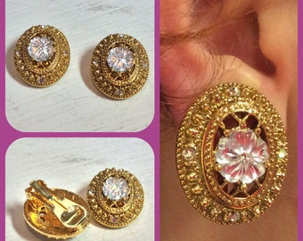 Gold Clip on Earrings, Floral Center with Crystal Accents, Great for a Wedding or Formal Event
